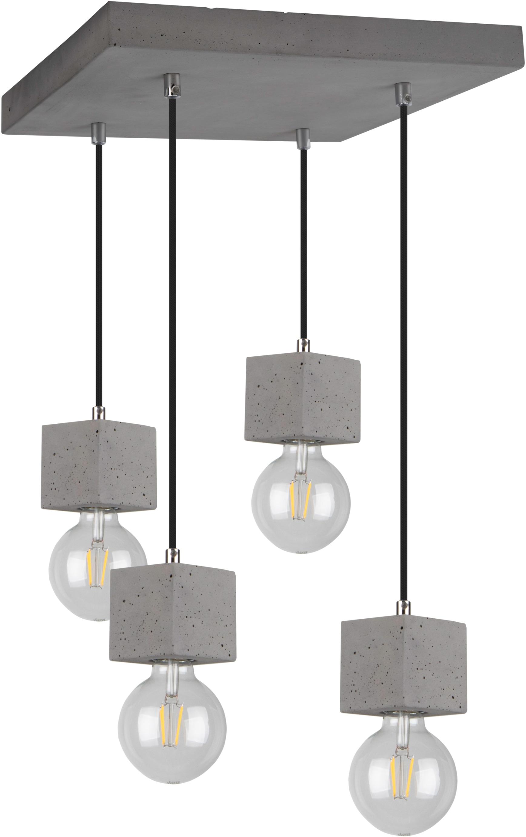 SPOT Light Pendelleuchte STRONG SQUARE, E27, 1 St., Hängeleuchte, Echtes Beton - handgefertigt, Naturprodukt - Nachhaltig, Ideal für Vintage-Leuchtmittel, Made in Europe