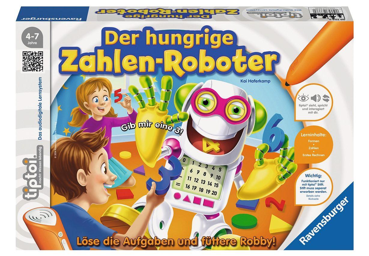Ravensburger Spiel, tiptoi Der hungrige Zahlen-Roboter bunt Kinder Tiptoi Lernspielzeug Spiele