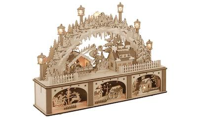 Schwibbogen, mit Unterbau und Weihnachtsmarkt, 45 x 33 cm kaufen