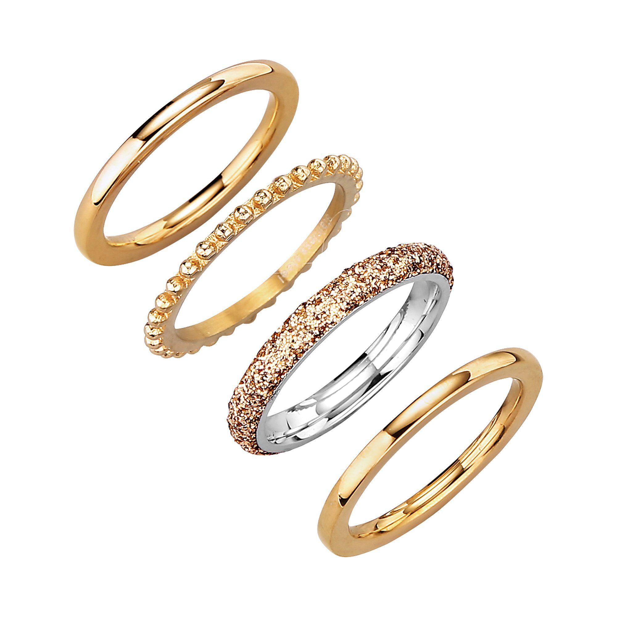 Jacques Lemans Ring-Set Edelstahl vergoldet | Schmuck > Ringe > Goldringe | Gelb | Jacques Lemans