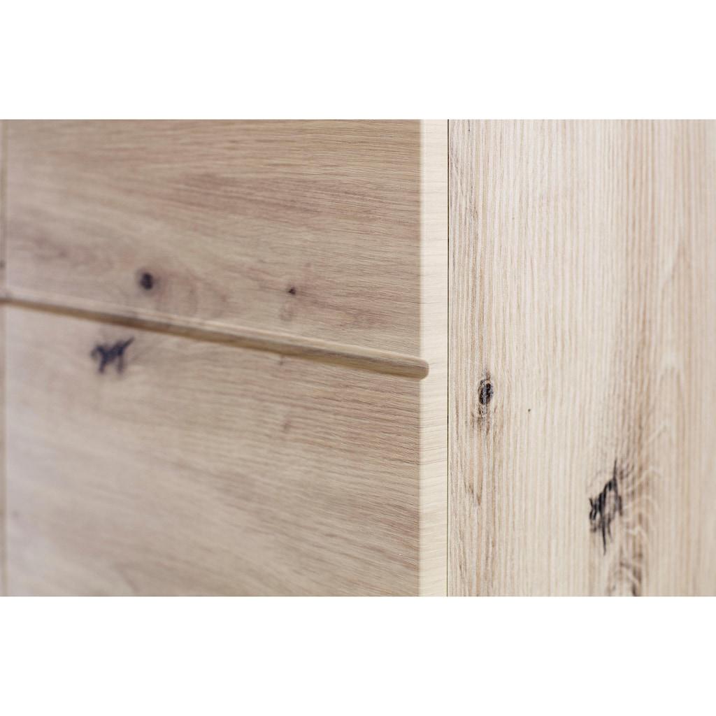 trendteam Badmöbel-Set »Amanda«, (Set, 4 St.), mit Hoch-, Waschbeckenunter-, Hänge- und Unterschrank, wechselbare Türanschläge, MDF-Fronten in Hochglanz- oder Holzoptik