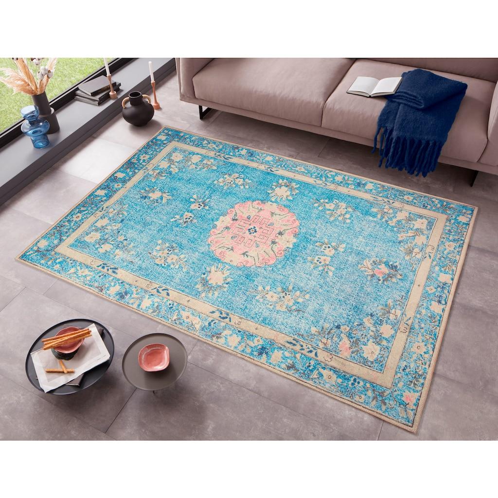 DELAVITA Teppich »Sahar«, rechteckig, 6 mm Höhe, Orient-Vintage-Optik, Wohnzimmer
