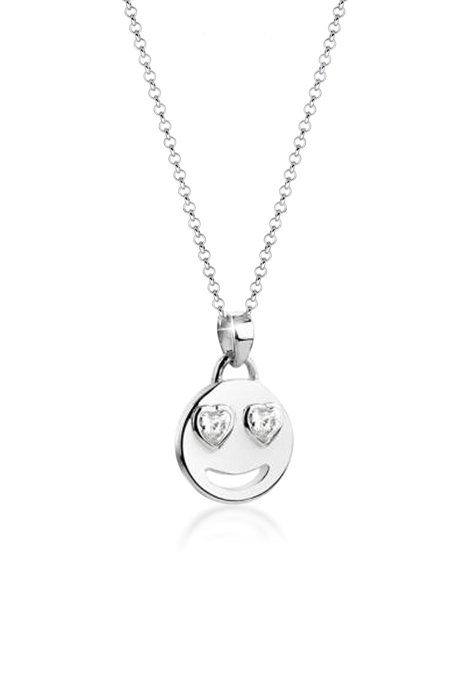 Nenalina Collierkettchen »Emoji Anhänger Zirkonia Kristalle Herz 925 Silber« | Schmuck > Halsketten > Herzketten | NENALINA