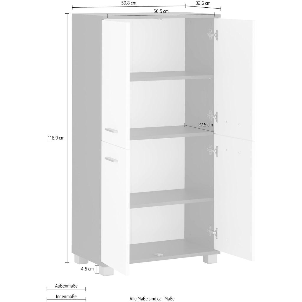 Schildmeyer Midischrank »Lagona«, Breite 59,8 cm, Metallgriffe, verstellbare Einlegeböden, 4 Türen