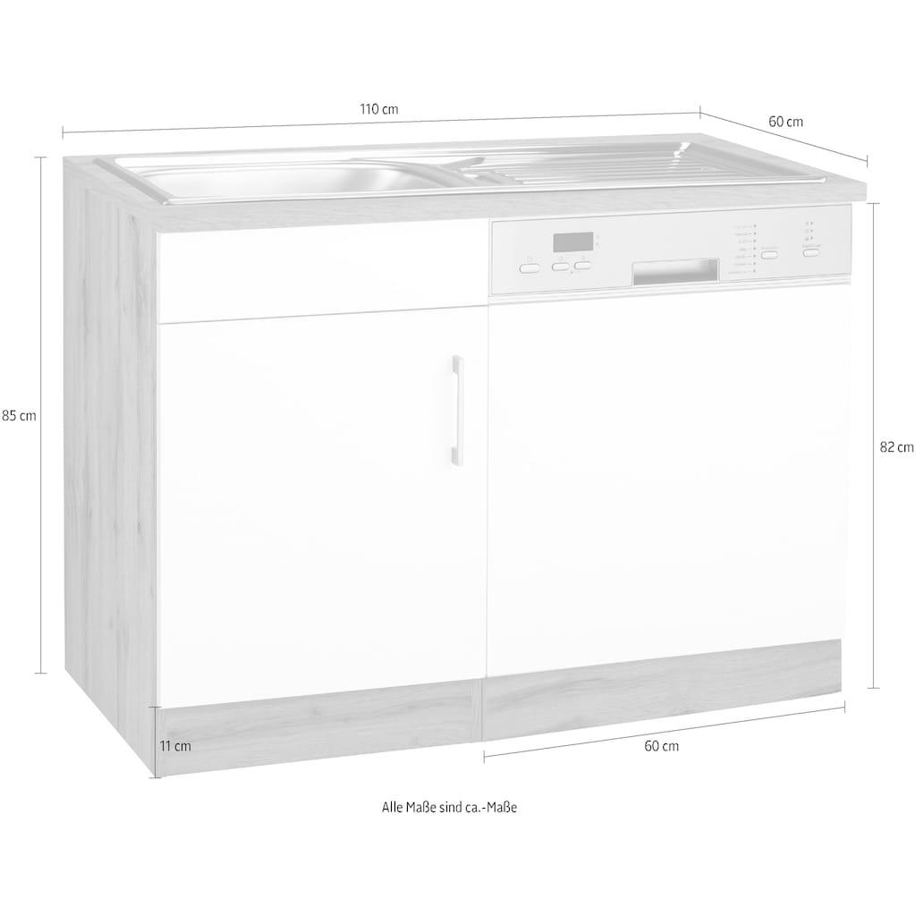HELD MÖBEL Spülenschrank »Colmar«, 110 cm, mit Metallgriff, Front und Sockelblende für teilintegrierten Geschirrspüler