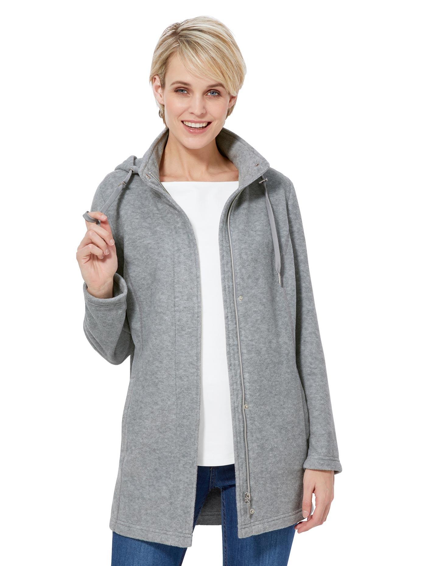 Casual Looks Fleece-Jacke in wärmender Qualität grau Damen Fleecejacken Jacken Mäntel Jacken, lang