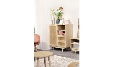 SalesFever Sideboard, Tür und Schubladenfronten aus Rattangeflecht, Wiener Geflecht kaufen