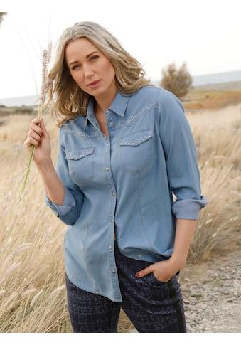 MIAMODA Jeansbluse, mit kontrastfarbenen Nähten kaufen