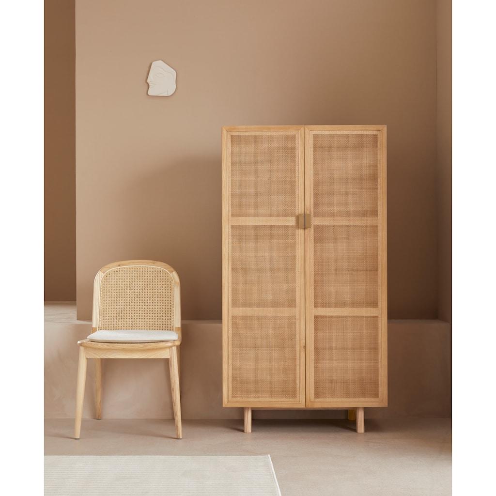 LeGer Home by Lena Gercke Highboard »Lina«, Mit Rattan Einsatz, 3 Innenfächer, teilmassiv