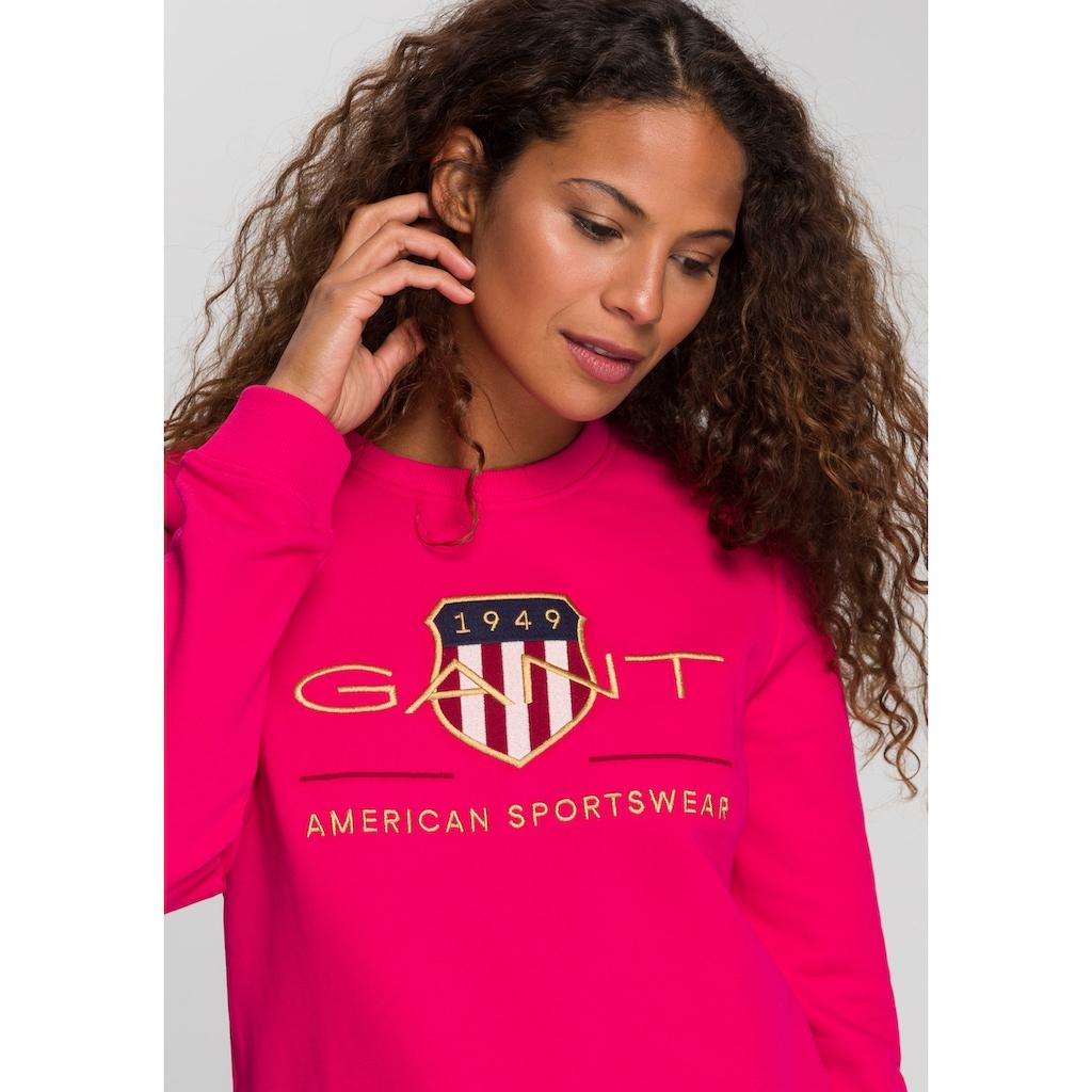 Gant Sweater, mit Shield und goldfarbener Logo- Stickerei
