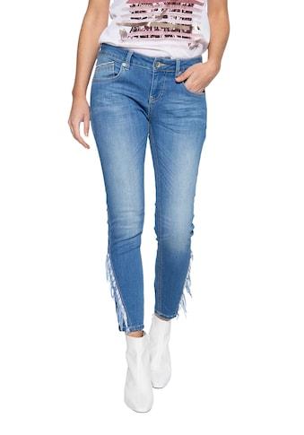 ATT Jeans Slim-fit-Jeans »Leoni«, mit Fransenaufsatz am Unterschenkel kaufen