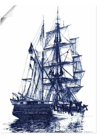 Artland Wandbild »Antikes Schiff in blau I«, Boote & Schiffe, (1 St.), in vielen Größen & Produktarten - Alubild / Outdoorbild für den Außenbereich, Leinwandbild, Poster, Wandaufkleber / Wandtattoo auch für Badezimmer geeignet kaufen
