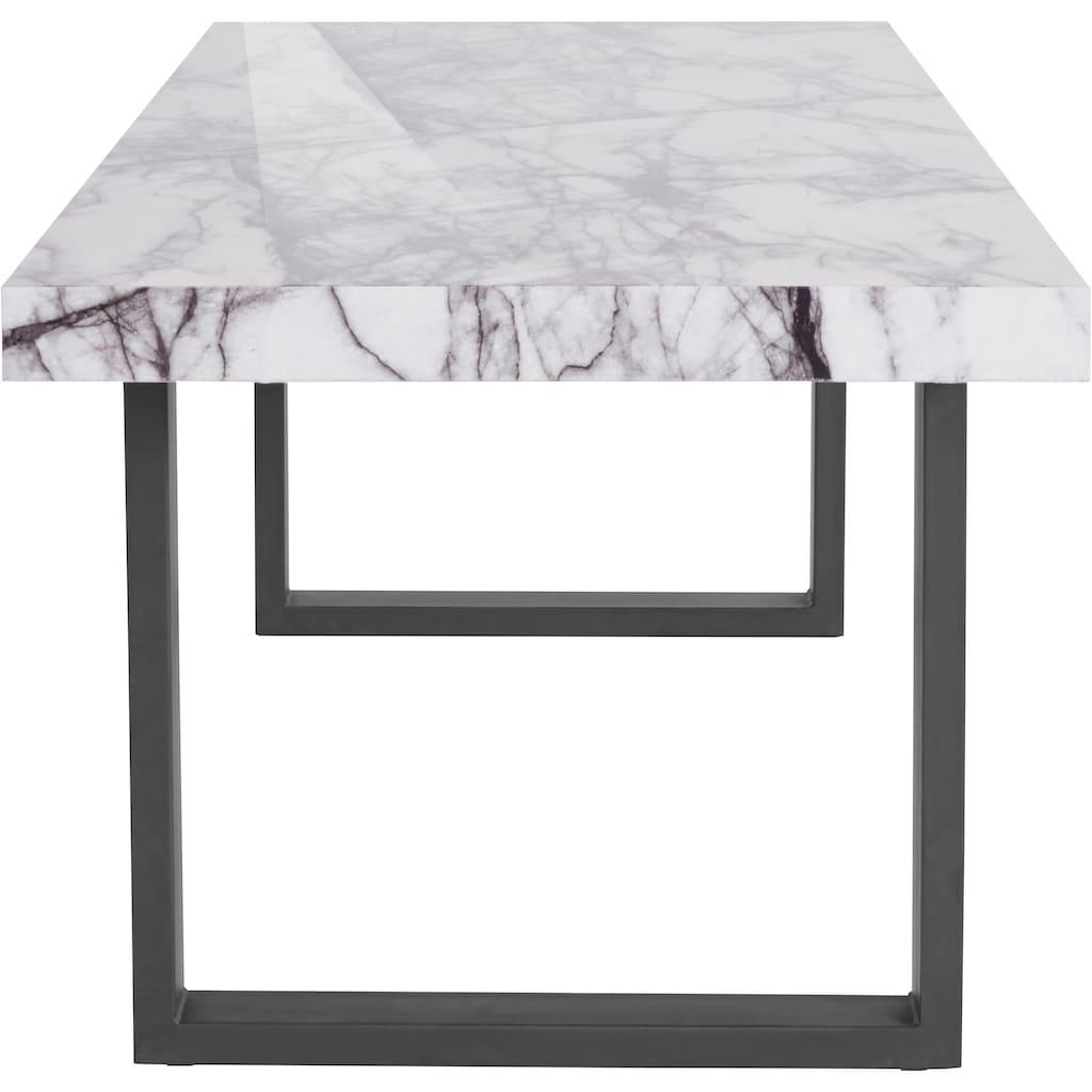 Guido Maria Kretschmer Home&Living Esstisch »Sinaia«, mit einer MDF folierten Marmor-Optik Tischplatte, edlem U-Gestell aus Metall, in drei verschiedenen Tischbreiten erhältlich