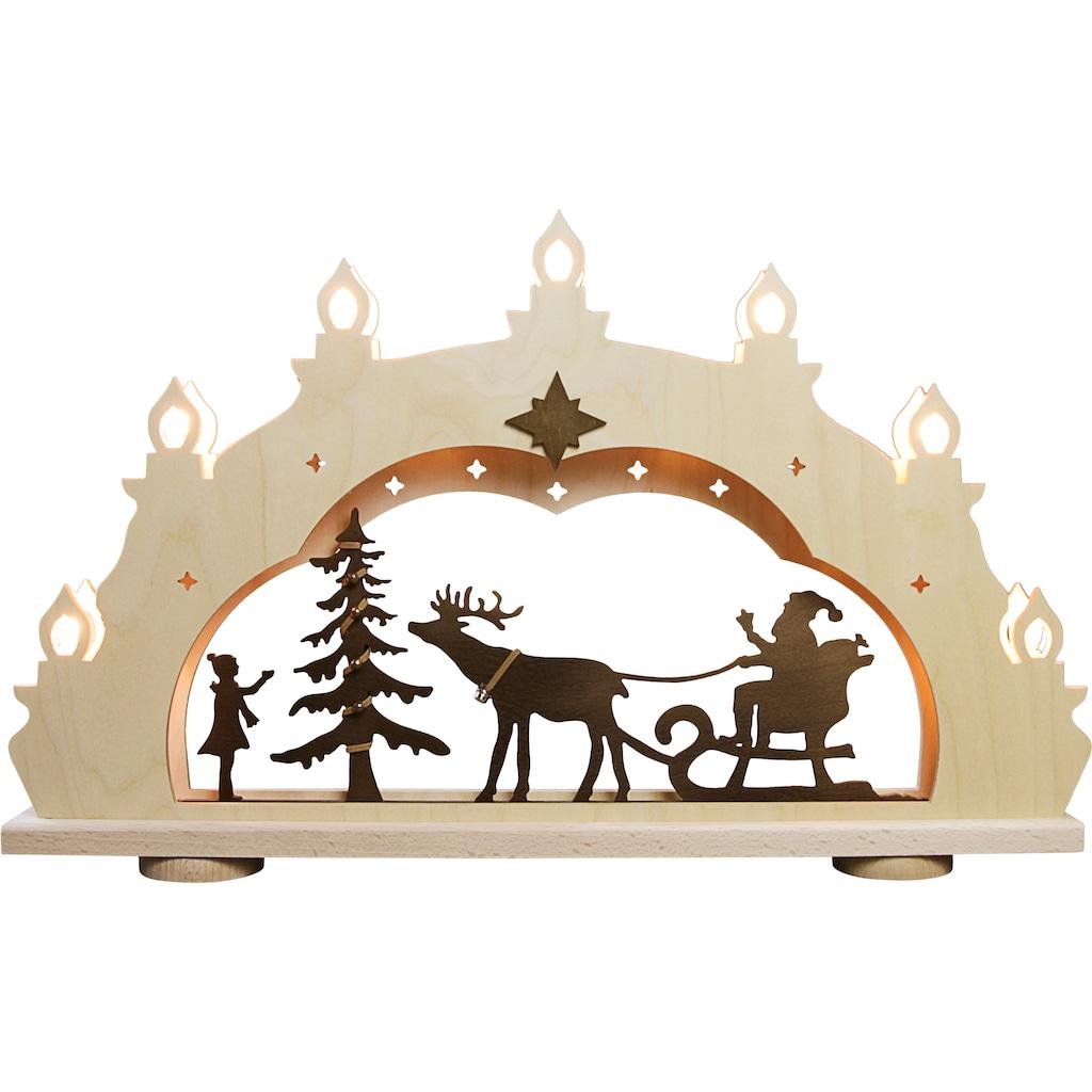 Weigla LED Schwibbogen »Weihnachtsmann auf Schlitten«, 1 tlg., 7-flammig