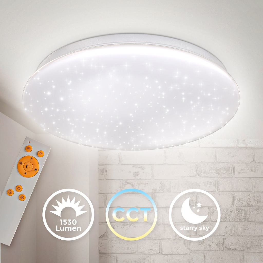 B.K.Licht Deckenleuchte, LED-Modul, 1 St., Neutralweiß, Deckenlampe 17W LED Sternenhimmel dimmbar mit Farbtemperatursteuerung CCT Nachtlichtfunktion Sternendekor IR Fernbedienung 338mm