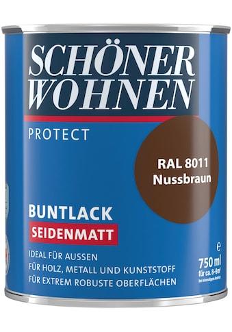 SCHÖNER WOHNEN-Kollektion Lack »Protect Buntlack«, seidenmatt, 750 ml, nussbraun RAL 8011 kaufen