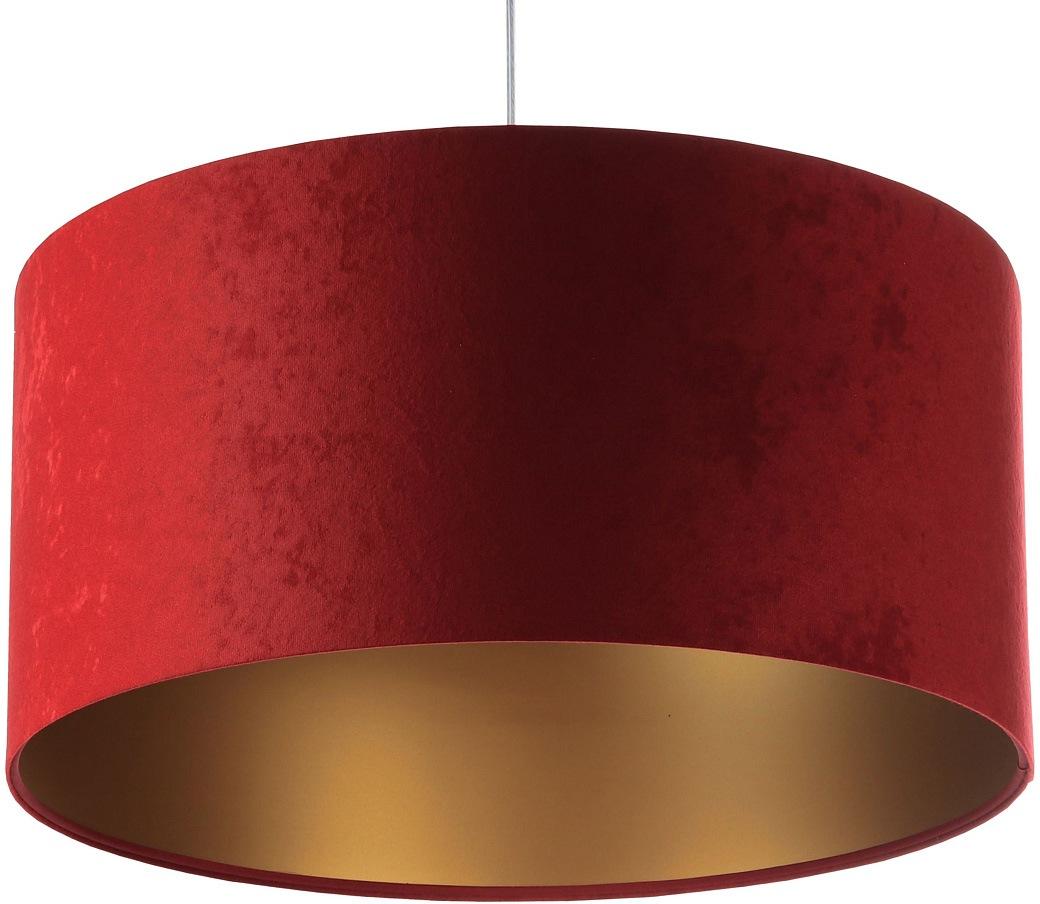 Jens Stolte Leuchten Pendelleuchte Paula, E27, 2 St., Textilpendel, rot, 60cm Ø, Stoffpendelleuchte L bordeaux/gold