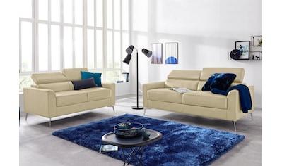 INOSIGN Sitzgruppe »Juno«, in trendigen Farben, in 3 unterschiedlichen Bezugsqualitäten und mit schönen chromfarbenen Metallbeinen kaufen