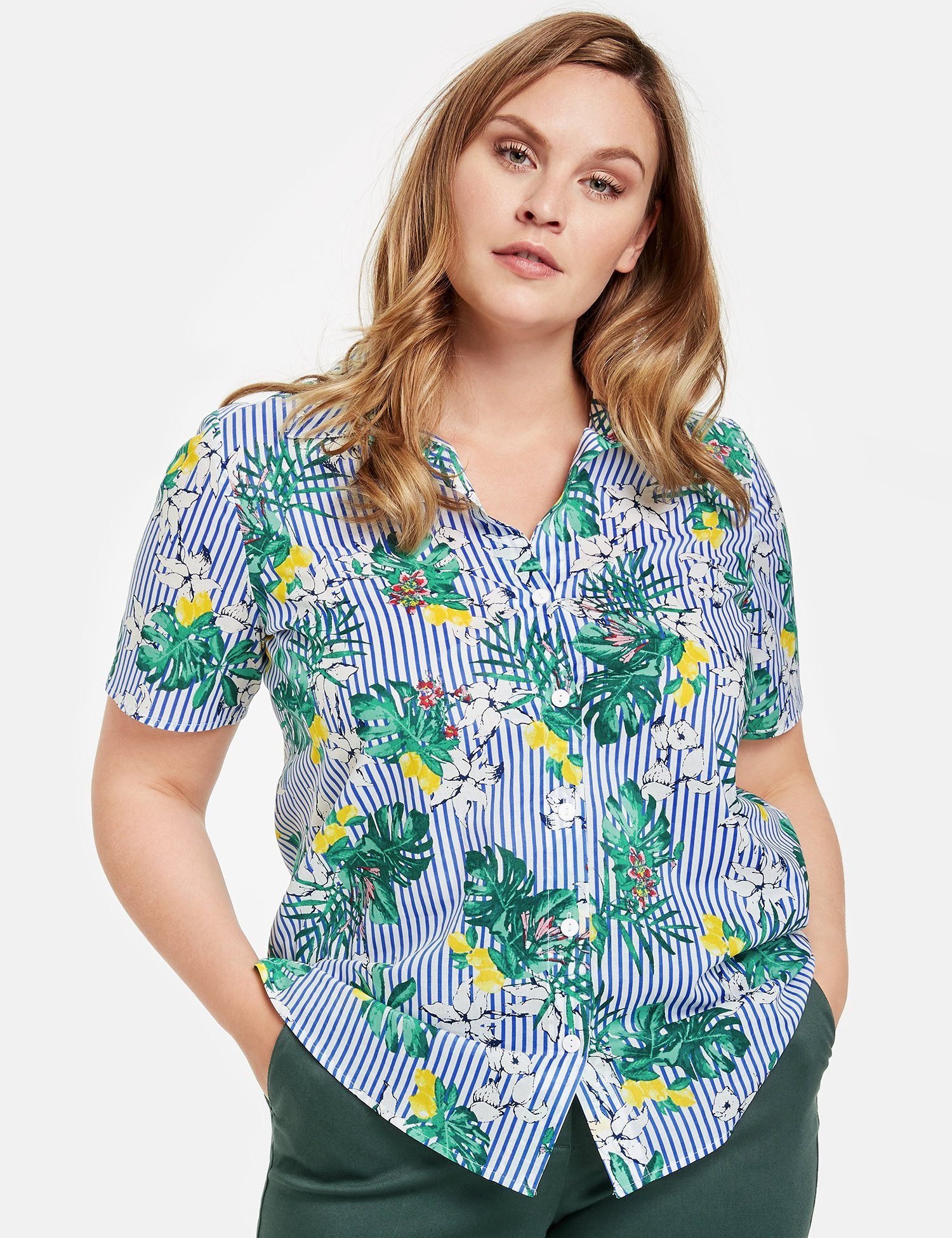 Samoon Bluse Kurzarm 1/2 Arm Bluse mit Muster-Mix