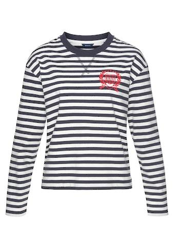 Gant Langarmshirt, im Ringel-Look mit toller Stickerei auf der Brust kaufen