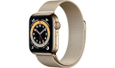 Apple Watch »Series 6 GPS + Cellular, Edelstahlgehäuse mit Milanaise Armband 40mm«,... kaufen