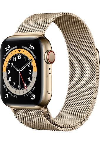 Apple Watch »Series 6 GPS + Cellular, Edelstahlgehäuse mit Milanaise Armband 40mm« (, Watch OS, inkl. Ladestation (magnetisches Ladekabel) kaufen