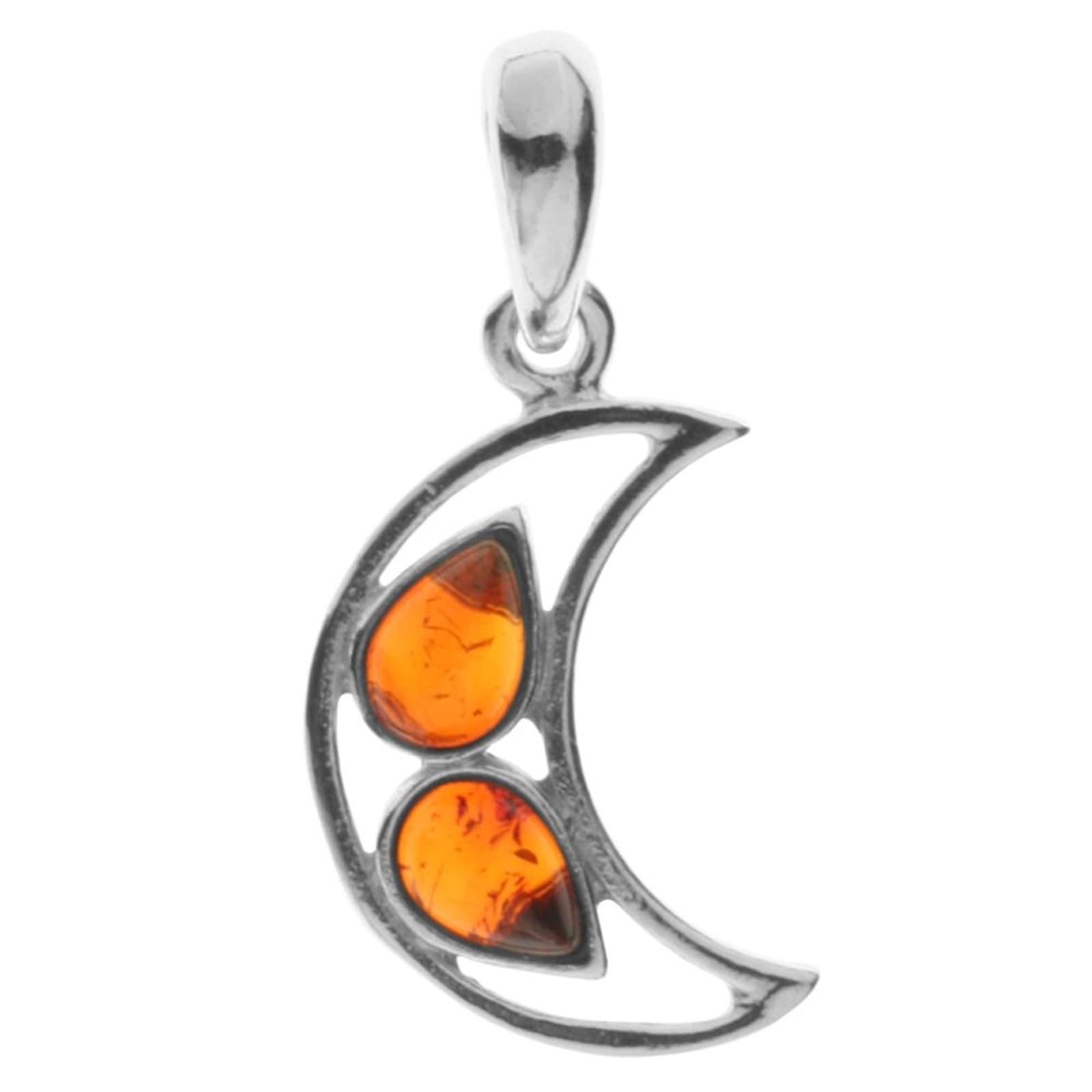 OSTSEE-SCHMUCK Kettenanhänger Mond Silber 925/000 Bernstein   Schmuck > Halsketten > Silberketten   Ostsee-Schmuck