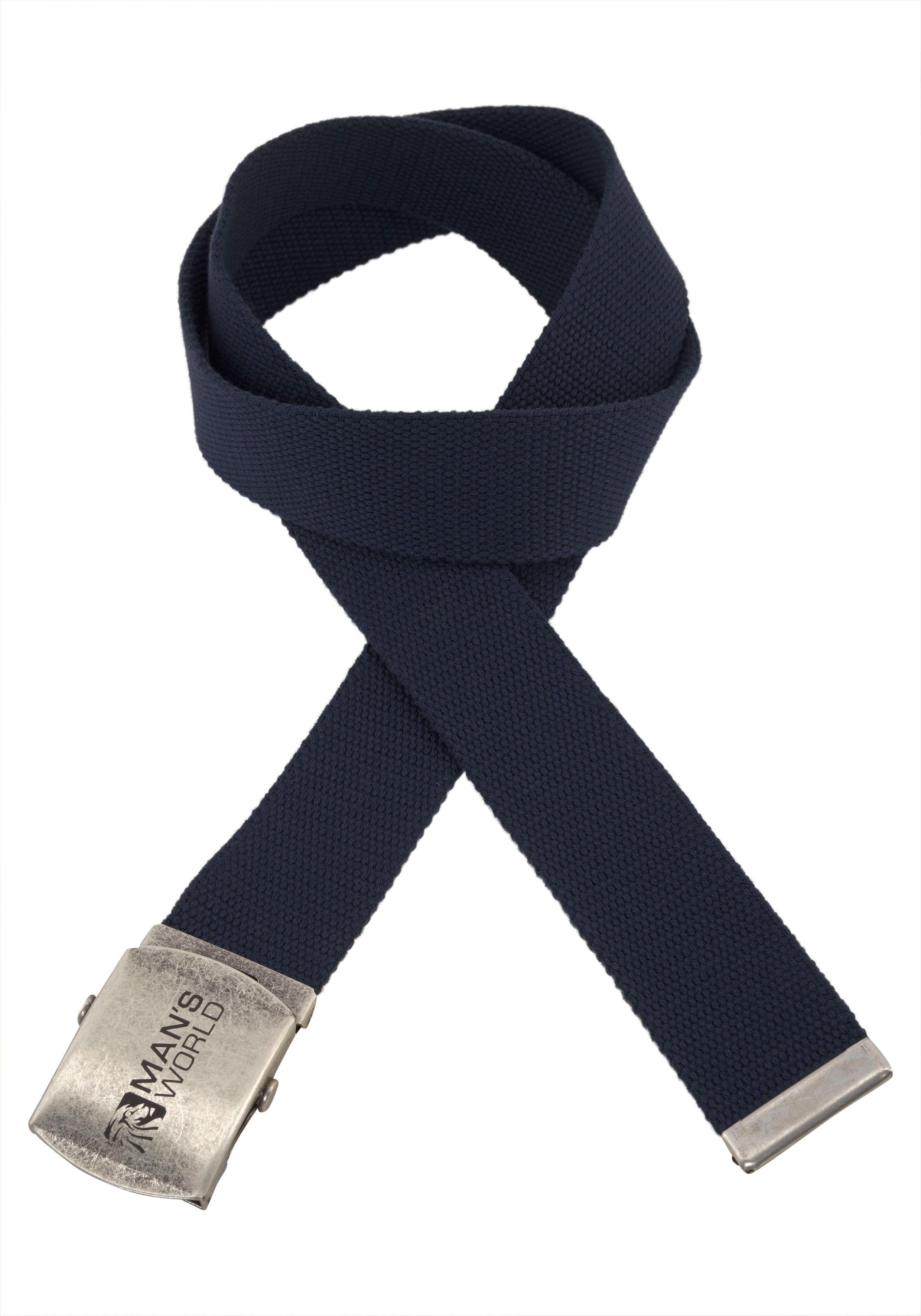 Man's World Stoffgürtel, Mit Koppelschließe, Textilbandgürtel blau Damen Koppelgürtel Gürtel Accessoires Stoffgürtel