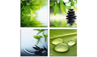 Artland Glasbild »Blätter Wasser Zen Steinpyramide Tropfen«, Zen, (4 St.) kaufen