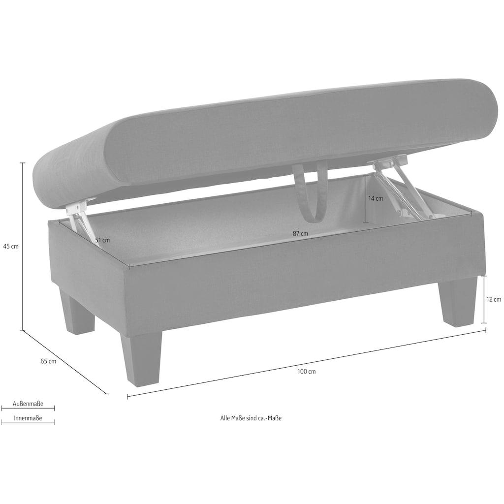 COTTA Polstergarnitur »Morven«, (Set), Set: bestehend aus Ecksofa und Hocker, Ecksofa Inklusive Kopfteilverstellung, wahlweise mit Bettfunktion und Bettkasten, wahlweise mit Ladestation