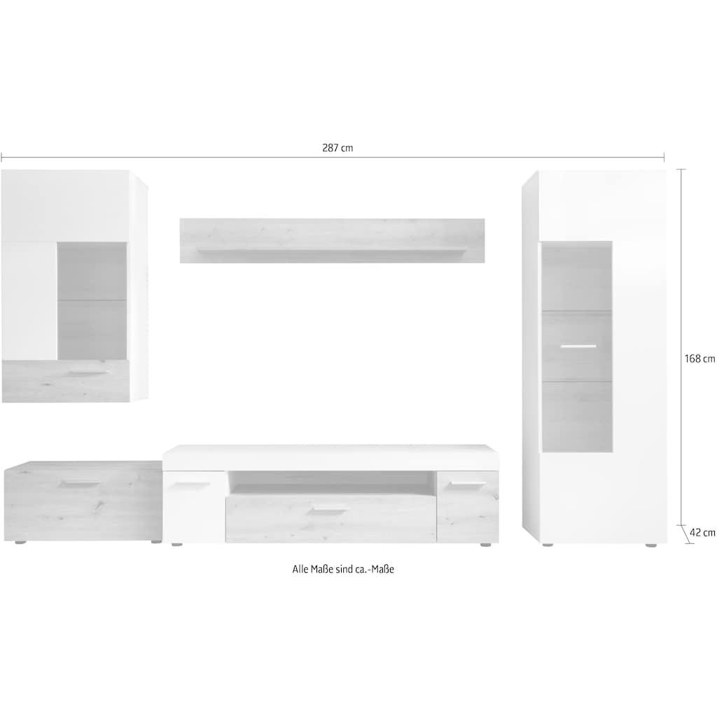 trendteam Wohnwand »Bella«, (Set, 4 St.), mit Glaseinsätzen