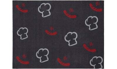 Andiamo Fußmatte »BBQ Kochmütze«, rechteckig, 3 mm Höhe, Fussabstreifer, Fussabtreter, Schmutzfangläufer, Schmutzfangmatte, Schmutzfangteppich, Schmutzmatte, Türmatte, Türvorleger, Grillmatte bzw. Grillunterlage ideal als Bodenschutz, In- und Outdoor geeignet, waschbar kaufen