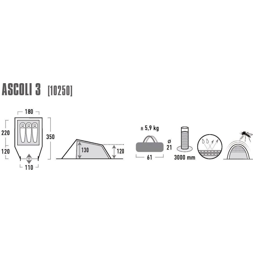 High Peak Tunnelzelt »Ascoli 3«, 3 Personen (mit Transporttasche)