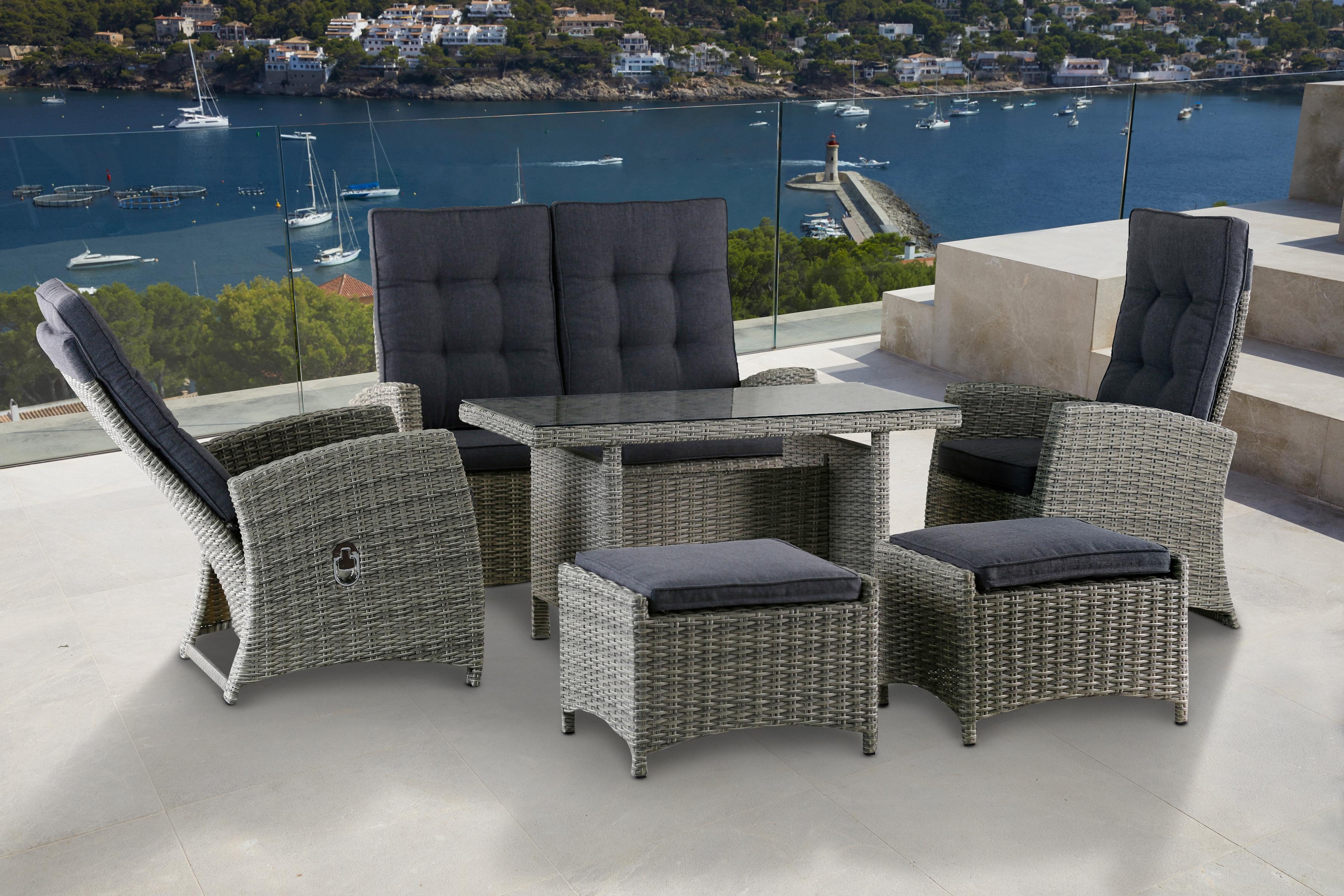 KONIFERA Gartenmöbelset Monaco 12-tlg 2er Sofa 2 Sessel 2 Hocker Tisch Polyrattan
