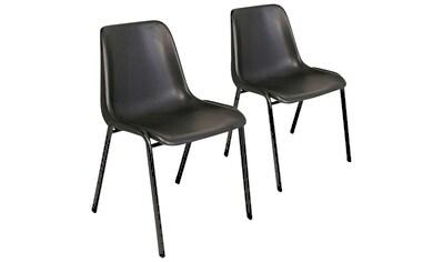 Schalenstuhl, 2er Set, stapelbar, Oval-Stahlrohr-Gestell 30x15 mm, schwarz kaufen