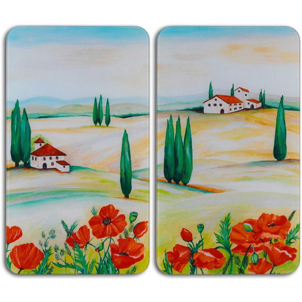 WENKO Herd-Abdeckplatte »Toscana«, (Set, 2 tlg.), aus gehärtetem Glas von WENKO