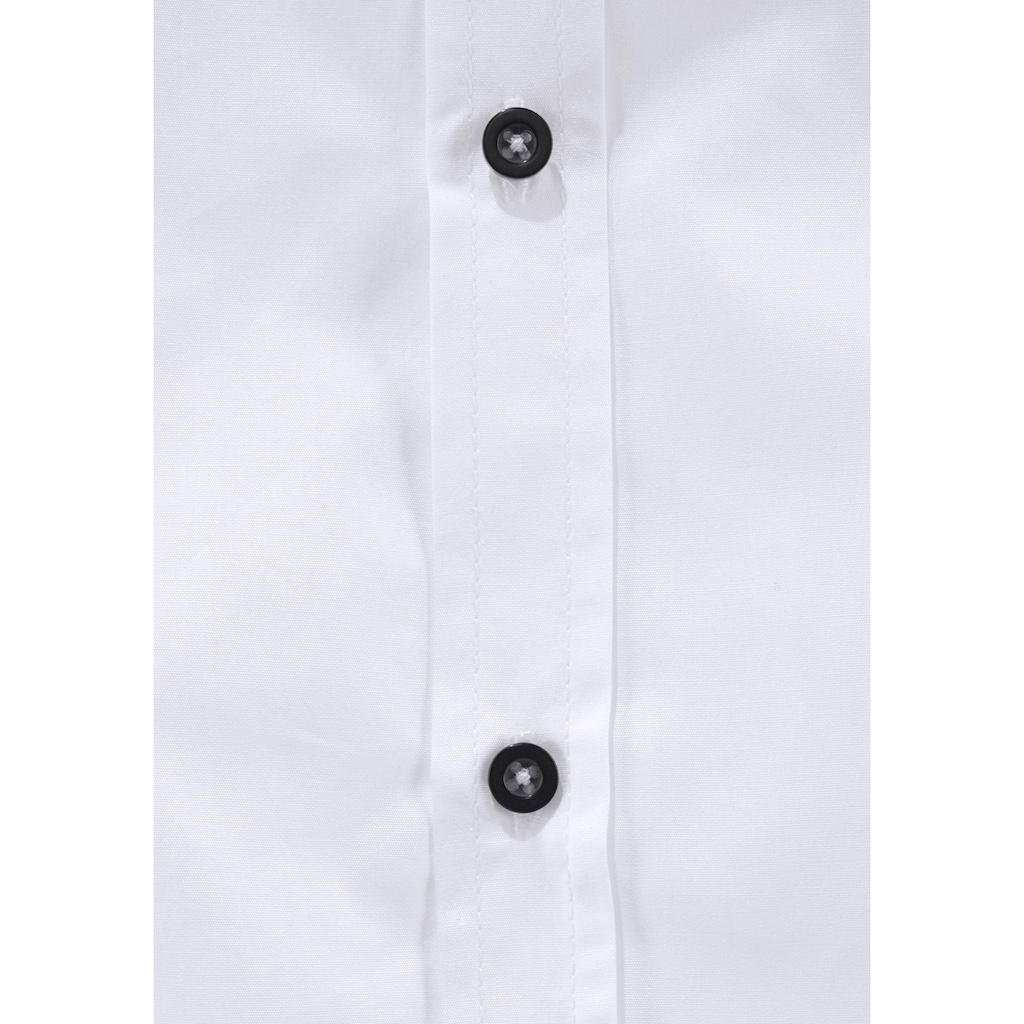 Arizona Langarmhemd, mit kontrastfarbenem Kragensteg