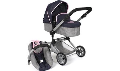 CHIC2000 Kombi-Puppenwagen »Linus, melange grau-navy«, mit Babywanne und Autositz kaufen