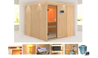 KONIFERA Sauna »Ferun«, 245x245x202 cm, 9 kW Bio - Ofen mit ext. Strg., mit Dachkranz kaufen