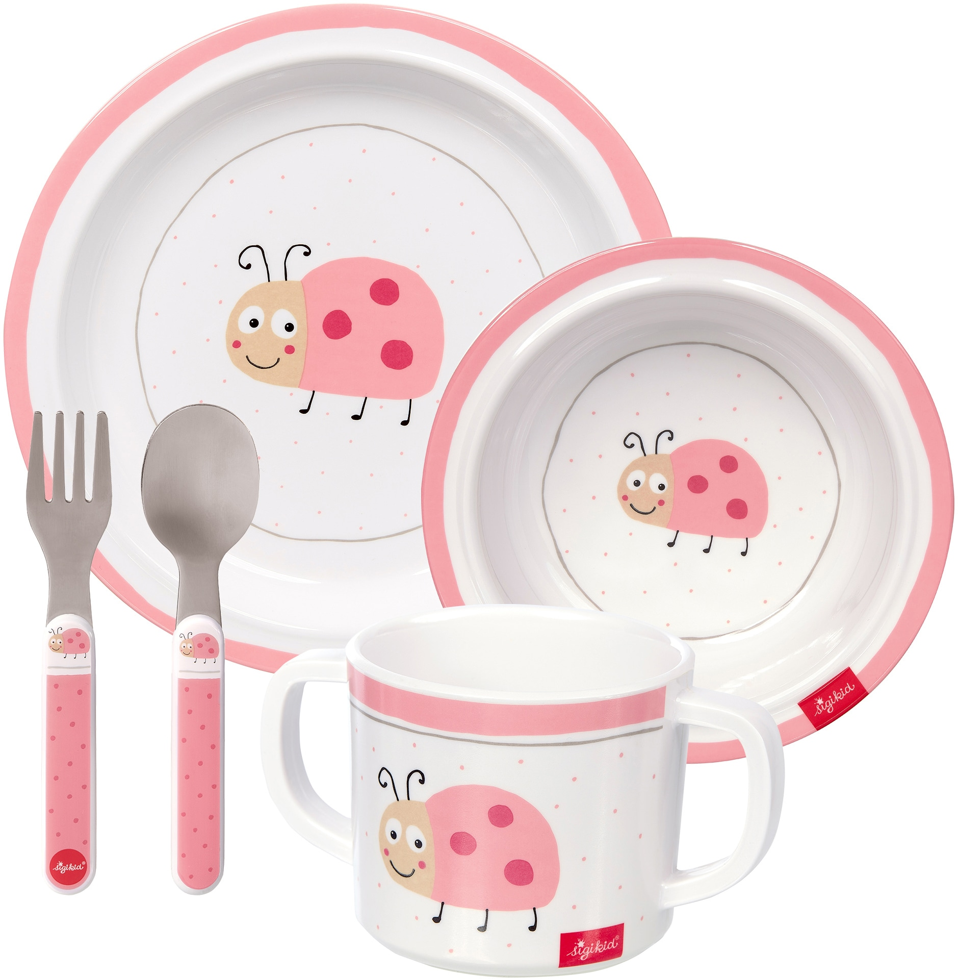 Sigikid Kindergeschirr-Set Marienkäfer rosa Baby Kindergeschirr Geschirr, Porzellan Tischaccessoires Haushaltswaren