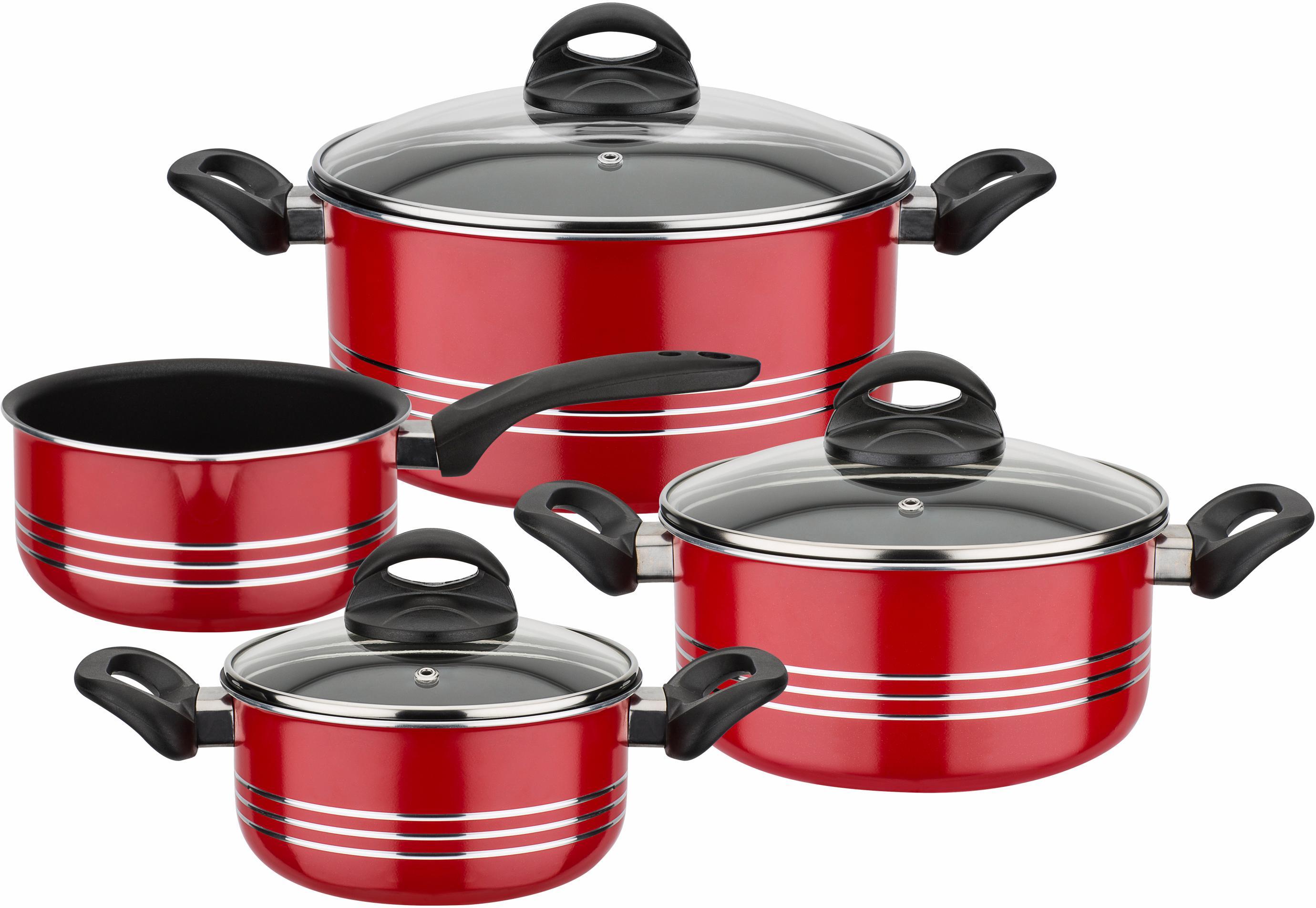 GSW Topf-Set Milano Color, Aluminium-Leichtmetall-Legierung, (Set, 7 tlg.), Induktion rot Topfsets Töpfe Haushaltswaren