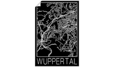 Artland Wandbild »Retro Karte Wuppertal Schwarz« kaufen