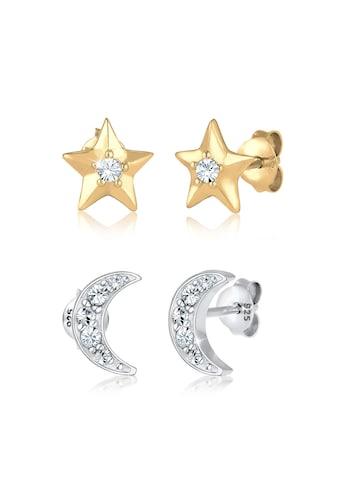 Elli Ohrring - Set »Sterne Halbmond Swarovski® Kristalle Silber« kaufen