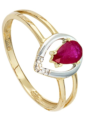 JOBO Diamantring, 585 Gold bicolor mit Rubin und 3 Diamanten kaufen