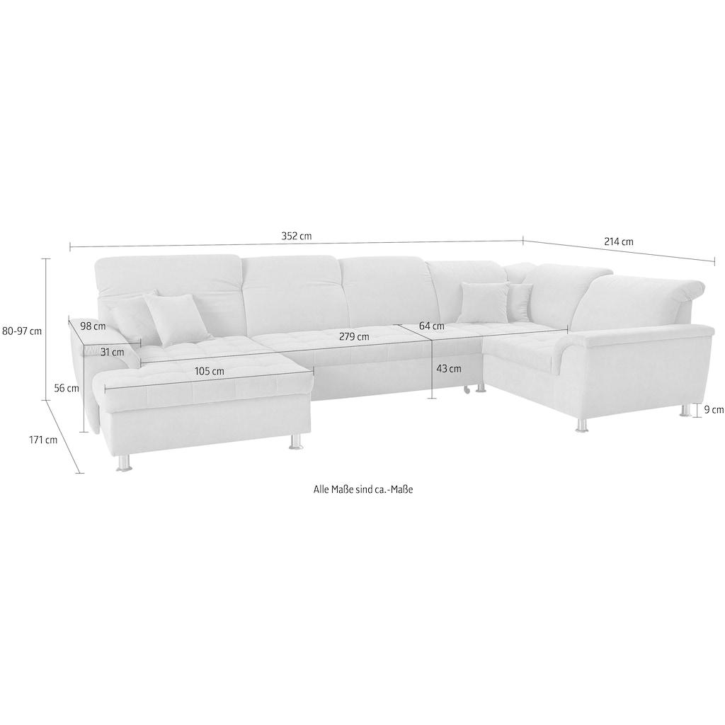 DOMO collection Wohnlandschaft »Franzi«, im XXL-Format, wahlweise mit Bettfunktion, Bettkasten und Kopfteilverstellung, frei im Raum stellbar