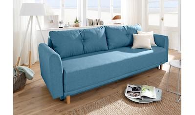 Home affaire Schlafsofa »Scandic«, inkl. 2 Zierkissen und Bettkasten, Knopfheftung in Rückenkissen kaufen