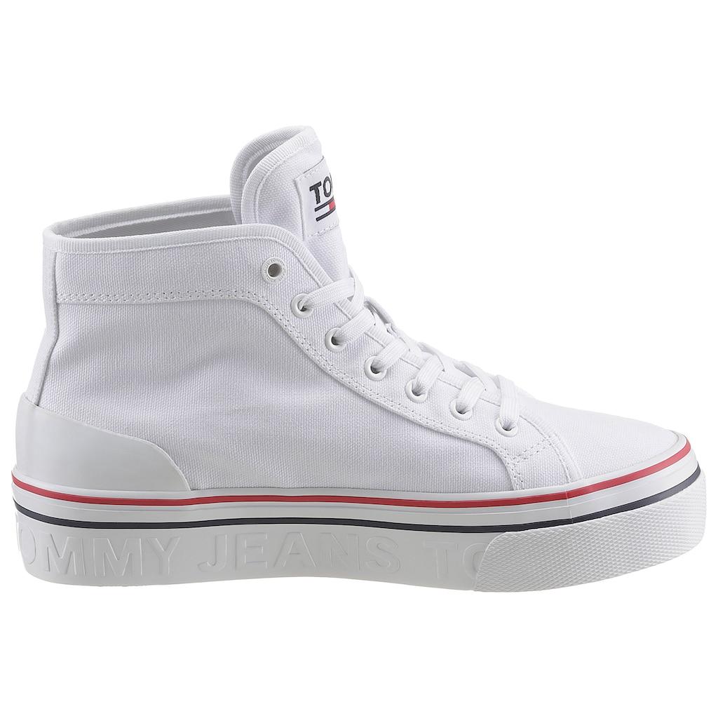 Tommy Jeans Sneaker »TOMMY JEANS MID FLATFORM VULC«, mit Logoschriftzug im Plateau
