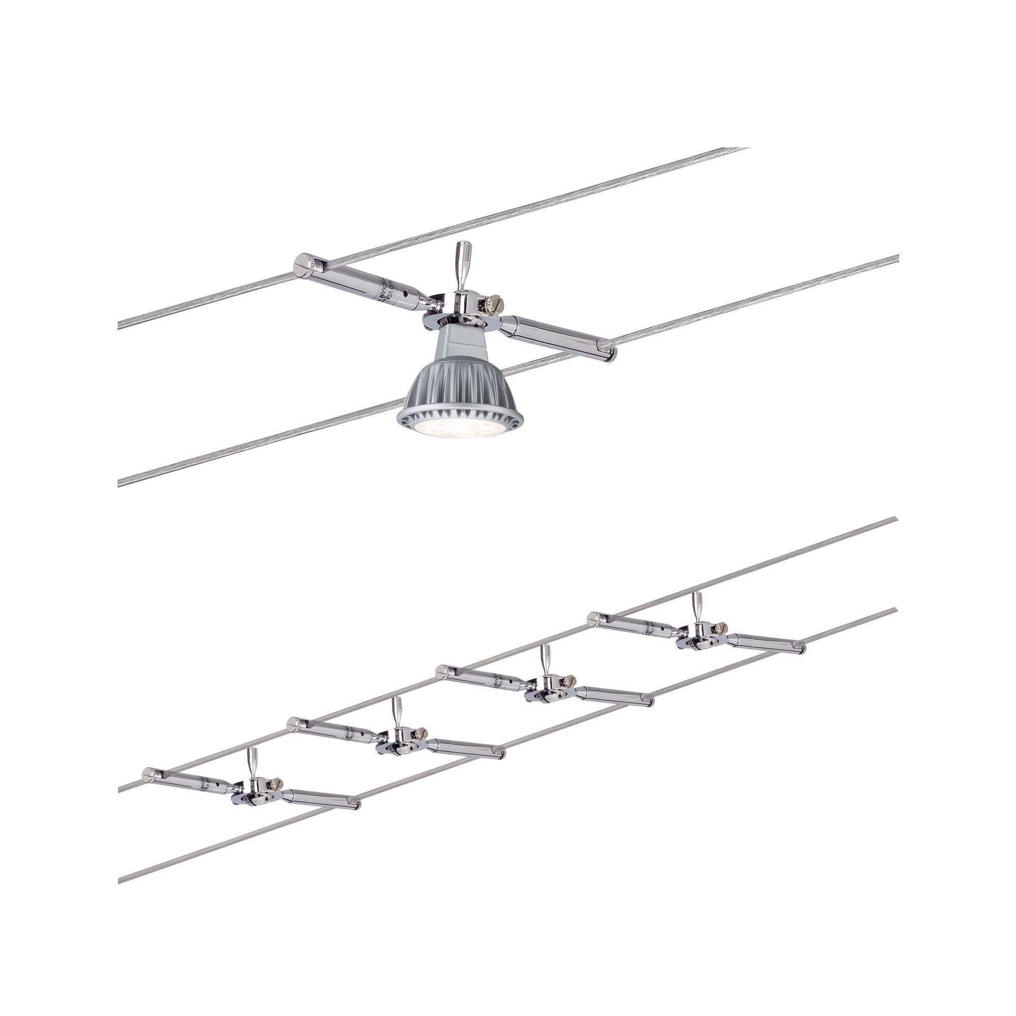 Paulmann LED Deckenleuchte Seilsystem Togo Chrom mit 4 Spots max. 10W GU5,3, GU 5,3, 1 St.