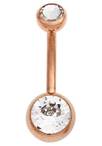JOBO Bauchnabelpiercing, Edelstahl roségold vergoldet mit Kristallsteinen kaufen