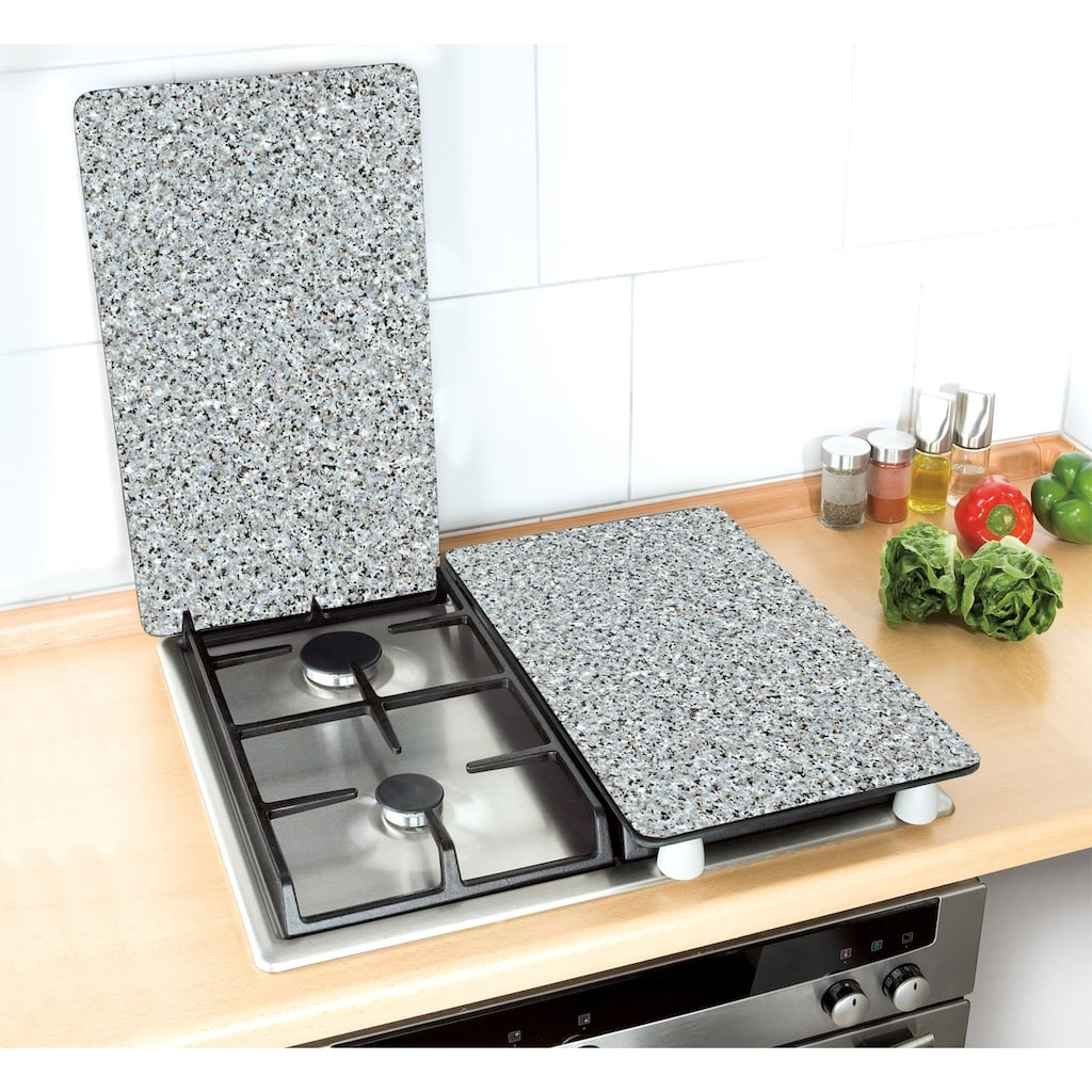 "WENKO Herd-Abdeckplatte ""Universal Granit"", Glas Kunststoff, (Set, 2-tlg.)"